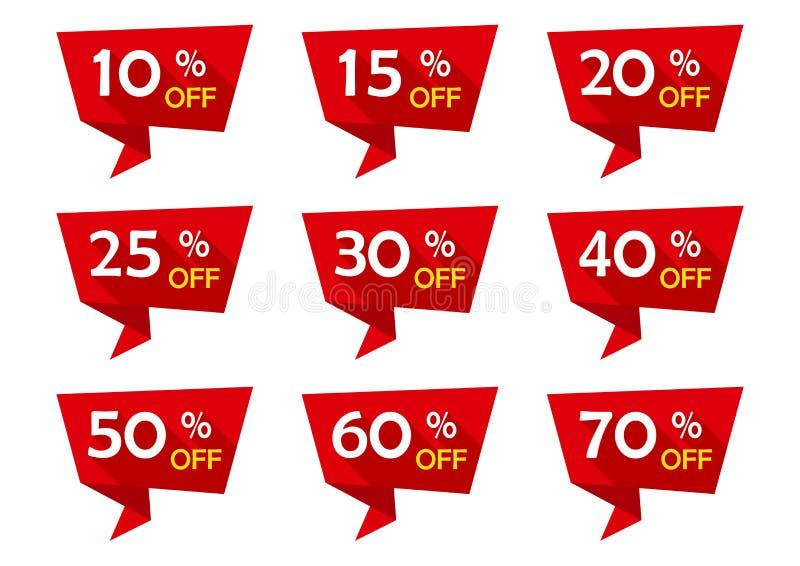 Grupo vermelho de anunciar fitas da etiqueta com ofertas do desconto Vendendo emblemas Ilustração do vetor ilustração do vetor