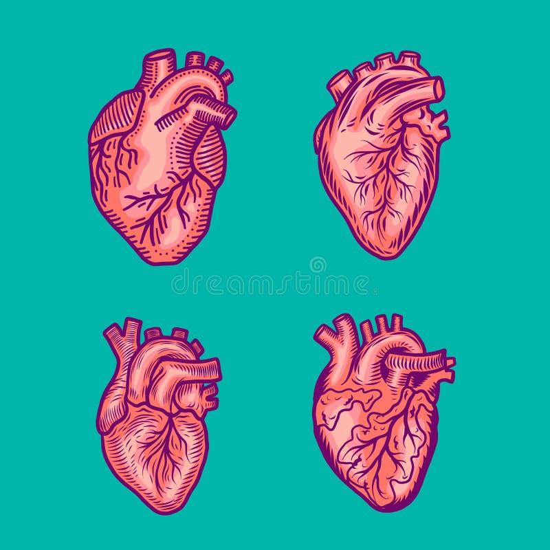 Grupo vermelho do ícone do coração, estilo tirado mão ilustração royalty free