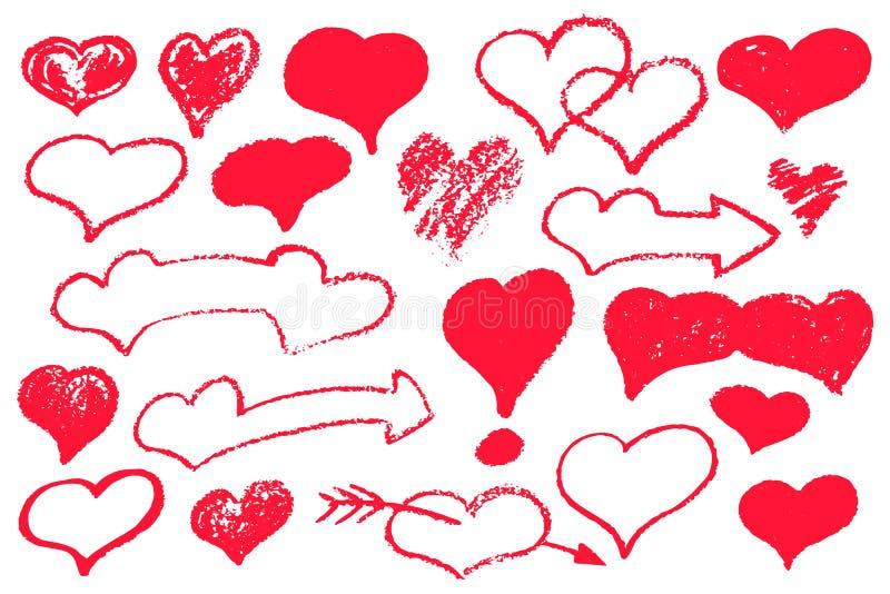 Grupo vermelho do coração de ícones textured Ilustração do vetor do Valentim do St no fundo branco Logotipo vermelho do coração d ilustração royalty free