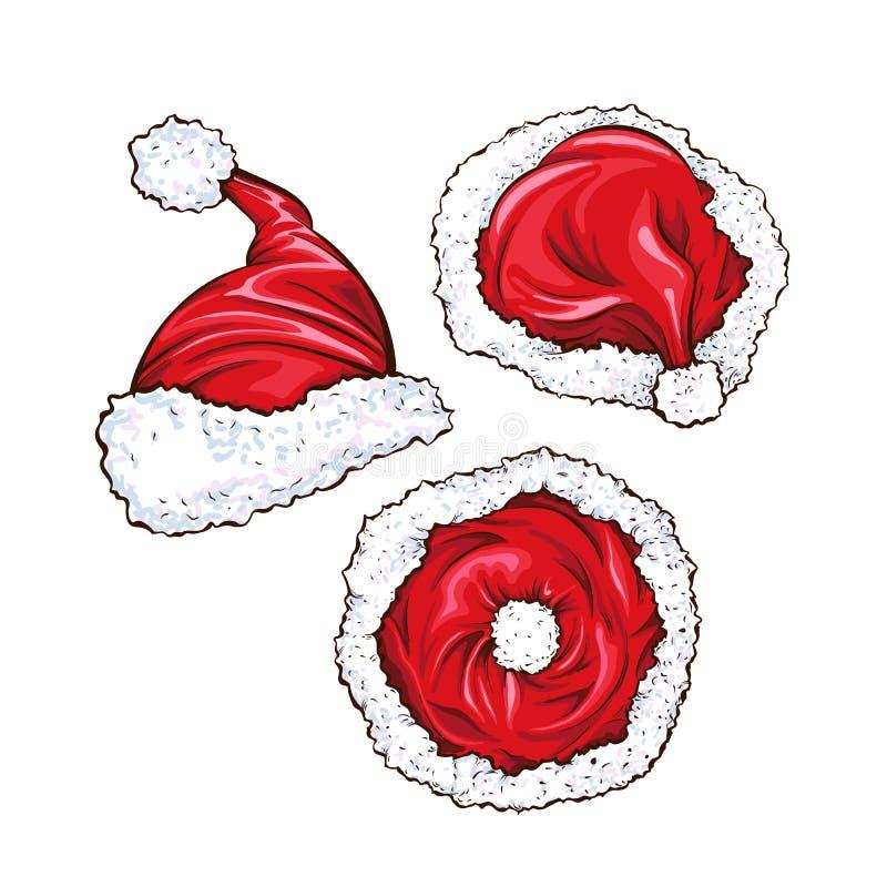 Grupo vermelho do vetor dos chapéus de Santa Claus ilustração do vetor