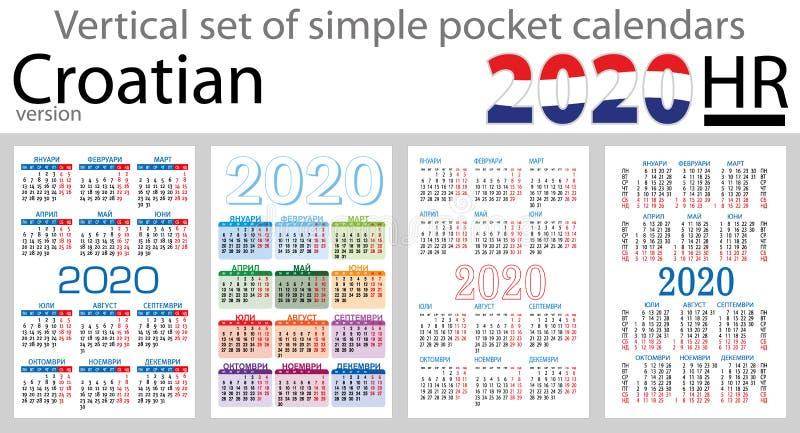 Grupo vertical croata de calendários do bolso para 2020 ilustração royalty free
