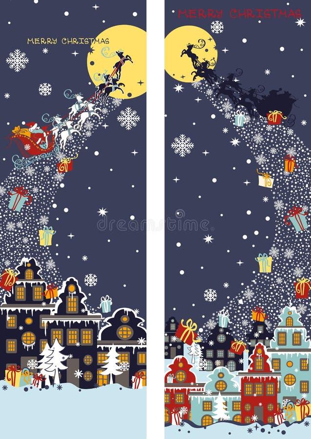 Grupo vertical da bandeira do Natal Vinda de Santa Claus ilustração do vetor