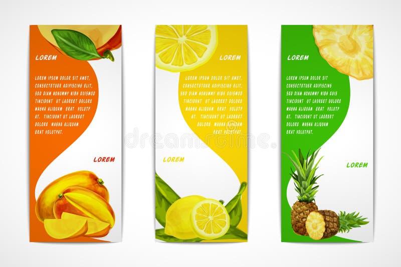 Grupo vertical da bandeira dos frutos tropicais ilustração stock