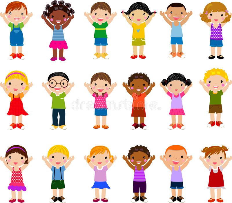 Grupo vertical de crianças ilustração stock