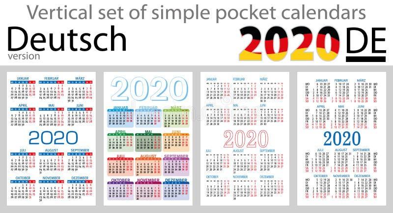 Grupo vertical de Deutsch de calendários do bolso para 2020 ilustração royalty free