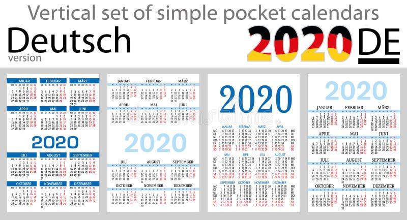 Grupo vertical de Deutsch de calendários do bolso para 2020 ilustração do vetor