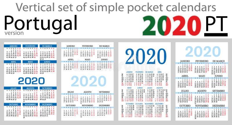 Grupo vertical de Portugal de calendários do bolso para 2020 ilustração do vetor