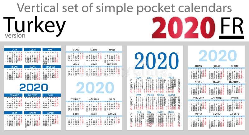 Grupo vertical de Turquia de calendários do bolso para 2020 ilustração do vetor