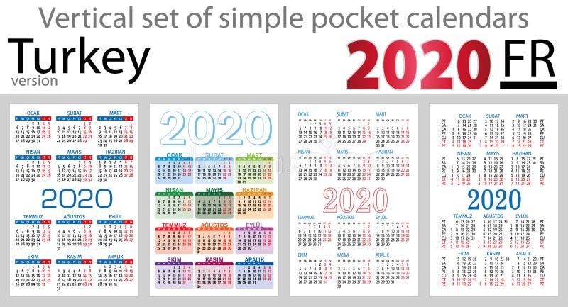 Grupo vertical de Turquia de calendários do bolso para 2020 ilustração stock