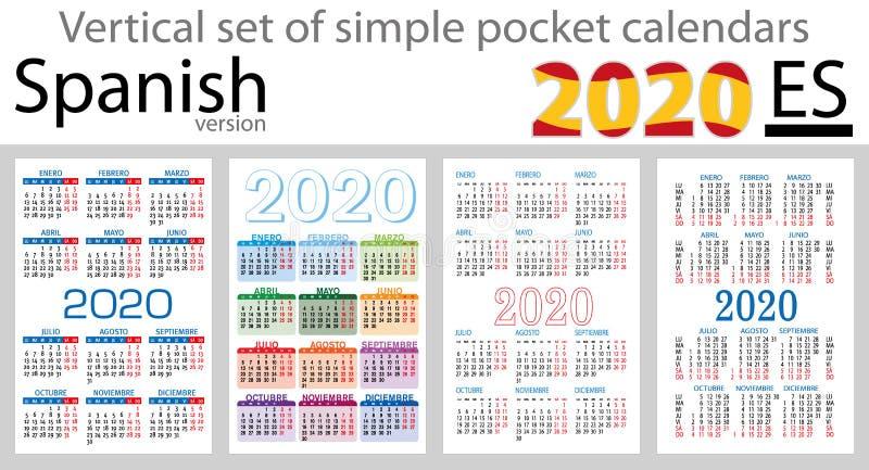 Grupo vertical espanhol de calendários do bolso para 2020 ilustração do vetor
