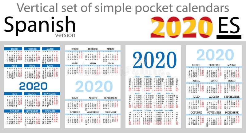 Grupo vertical espanhol de calendários do bolso para 2020 ilustração stock