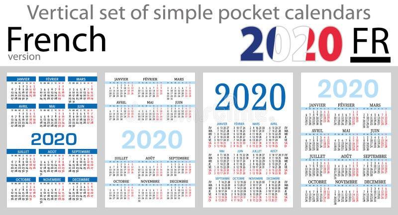 Grupo vertical francês de calendários do bolso para 2020 ilustração royalty free