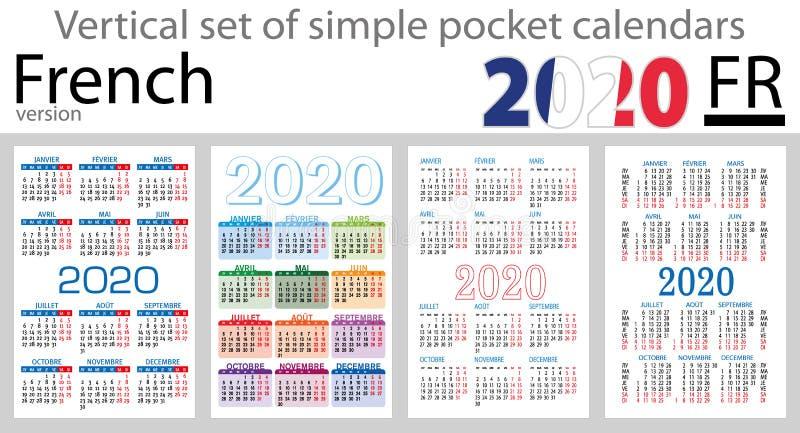 Grupo vertical francês de calendários do bolso para 2020 ilustração do vetor