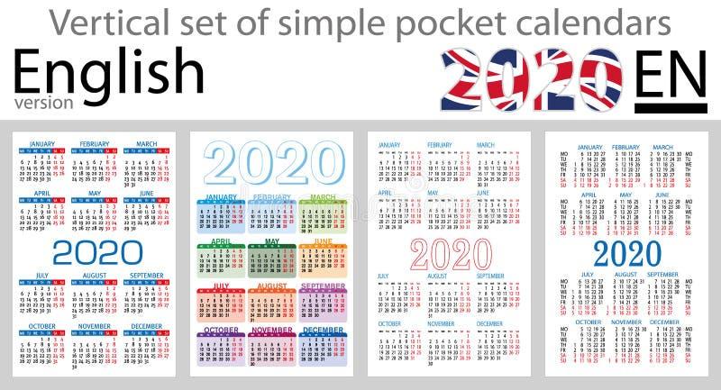 Grupo vertical inglês de calendários do bolso para 2020 ilustração do vetor