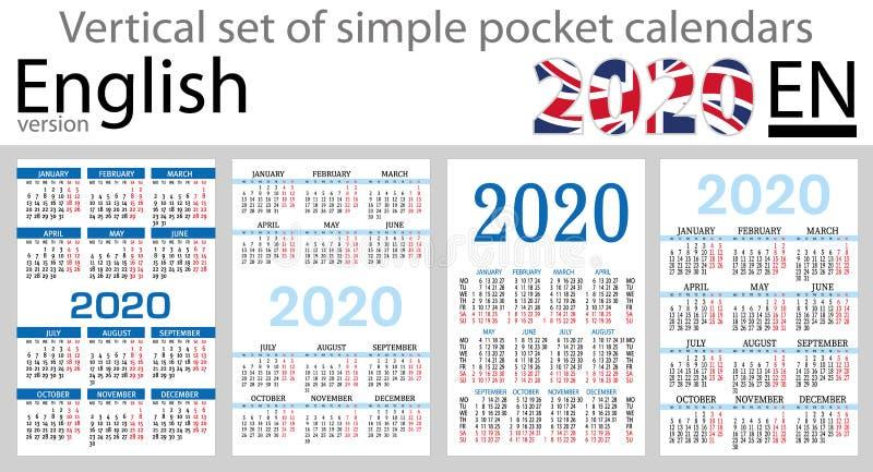 Grupo vertical inglês de calendários do bolso para 2020 ilustração stock