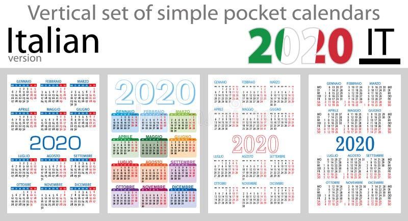 Grupo vertical italiano de calendários do bolso para 2020 ilustração royalty free