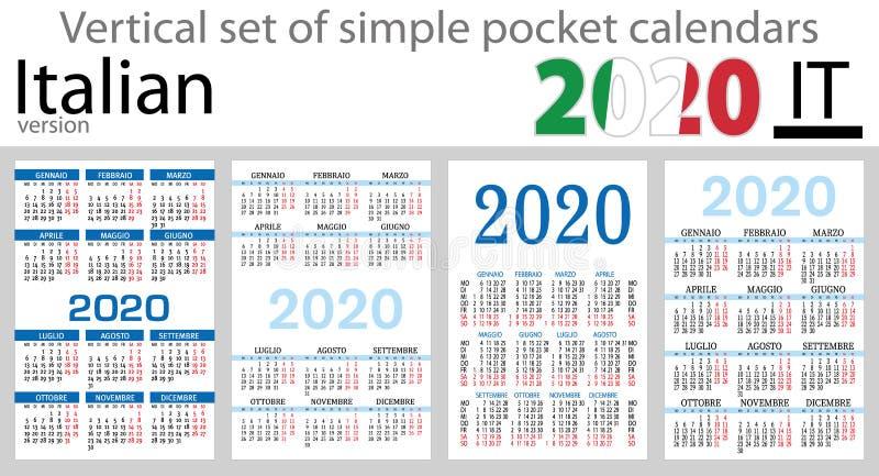 Grupo vertical italiano de calendários do bolso para 2020 ilustração do vetor