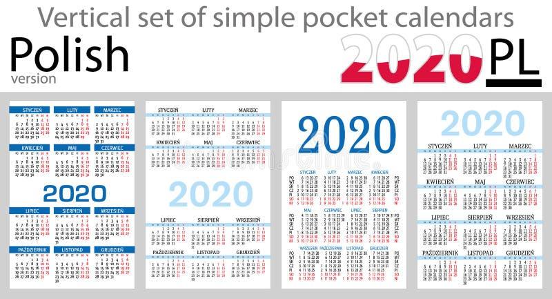 Grupo vertical polonês de calendários do bolso para 2020 ilustração stock