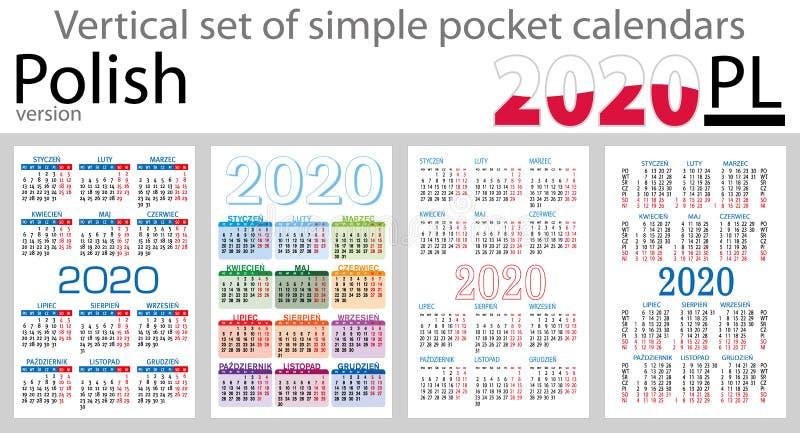 Grupo vertical polonês de calendários do bolso para 2020 ilustração do vetor