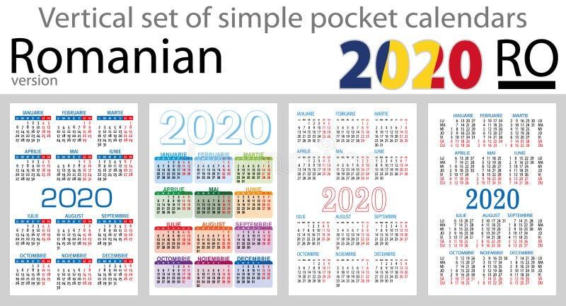 Grupo vertical romeno de calendários do bolso para 2020 ilustração do vetor