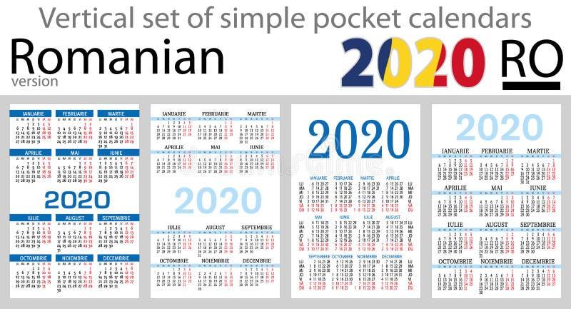 Grupo vertical romeno de calendários do bolso para 2020 ilustração stock