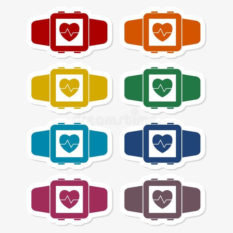 Grupo wearable da etiqueta do símbolo da tecnologia de Smartwatch ilustração royalty free