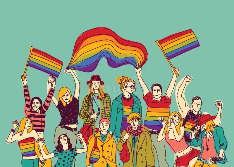 Grupo y cielo gay felices de la gente de la reunión de Lgbt ilustración del vector