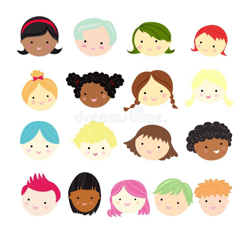 Grupos da cara das crianças ilustração do vetor