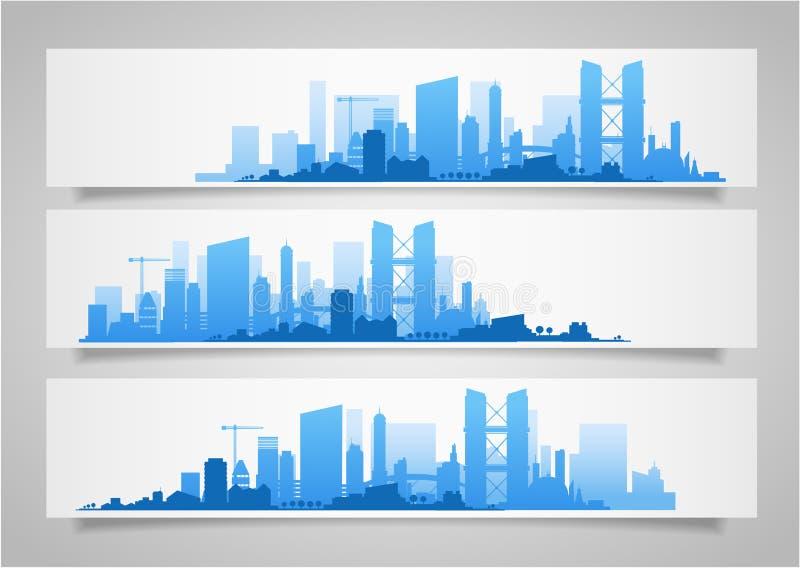 Grupos da skyline da cidade ilustração do vetor
