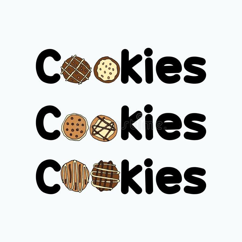 Grupos de arte finala do logotipo das cookies ilustração stock