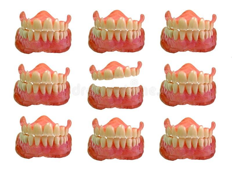 Grupos de dentes falsos fotografia de stock royalty free