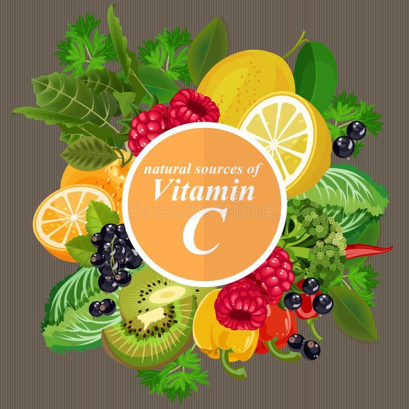 Grupos de fruta sana, de verduras, de carne, de pescados y de productos lácteos conteniendo las vitaminas específicas Vitamina C libre illustration