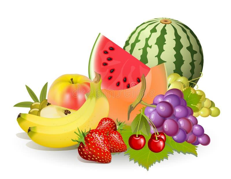 Grupos de frutas stock de ilustración