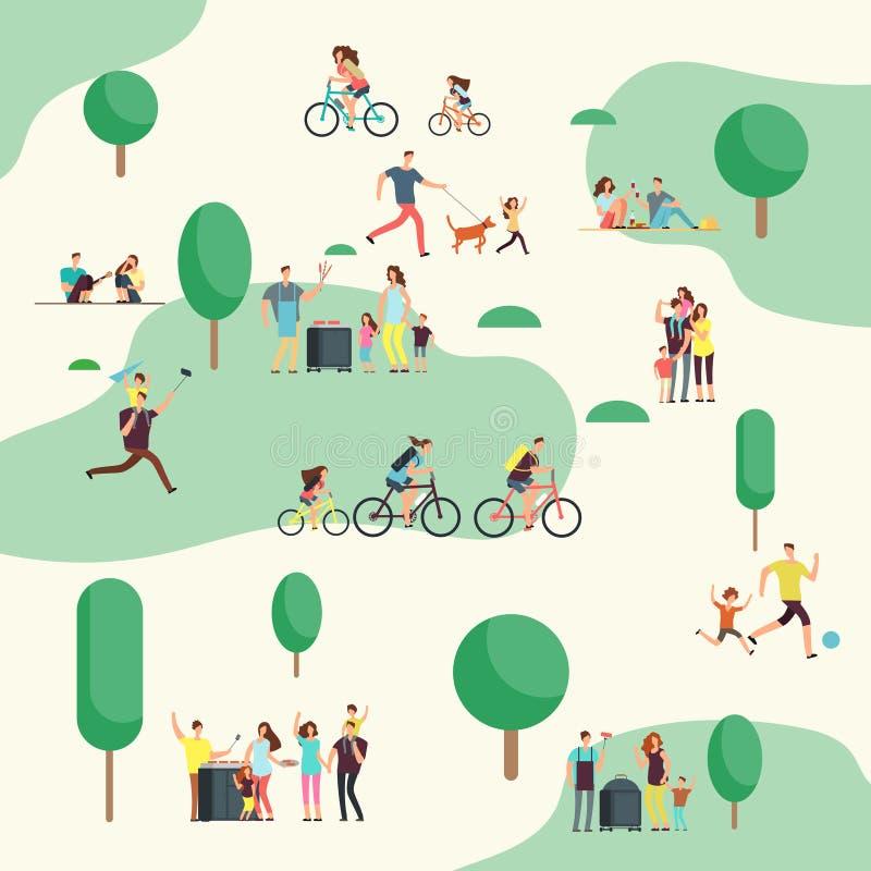 Grupos de la gente encendido en comida campestre del Bbq Las familias felices en diversa actividad al aire libre en verano parque ilustración del vector