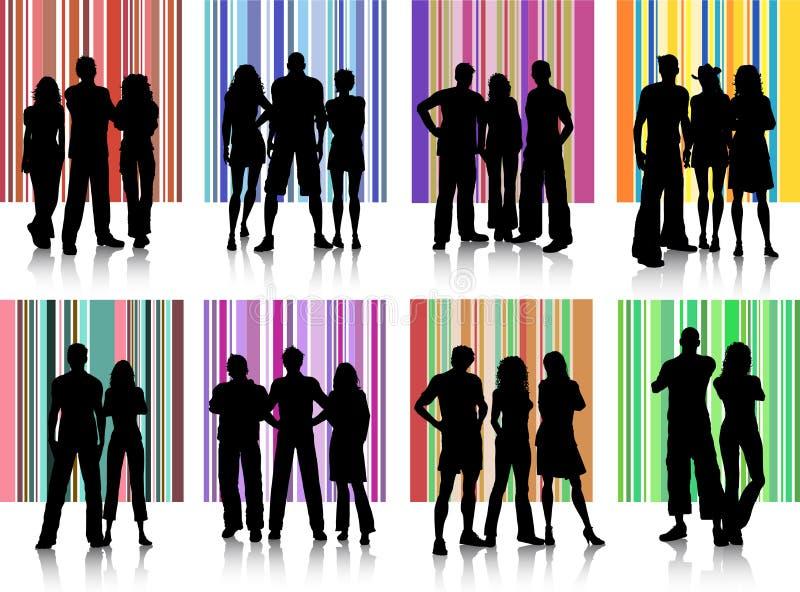 Grupos de personas stock de ilustración