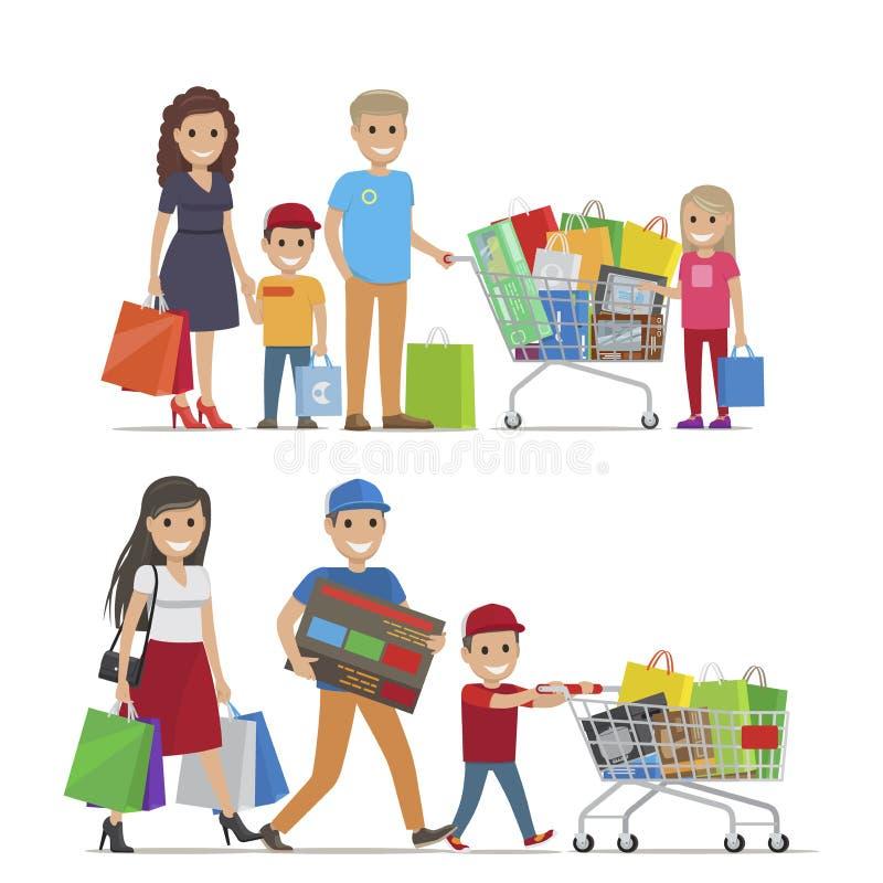 Grupos de personas que hacen la imagen del vector de las compras ilustración del vector