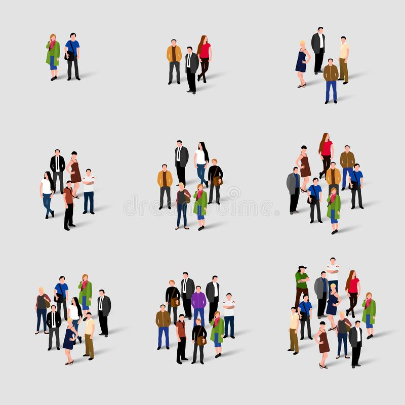 Grupos de pessoas diferentes Comminacation social da rede Cresce a audiência dos subbscribers Conceito da população ilustração royalty free