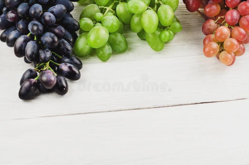 Grupos de uvas azuis e cor-de-rosa e verdes maduras frescas em pranchas brancas de madeira velhas foto de stock