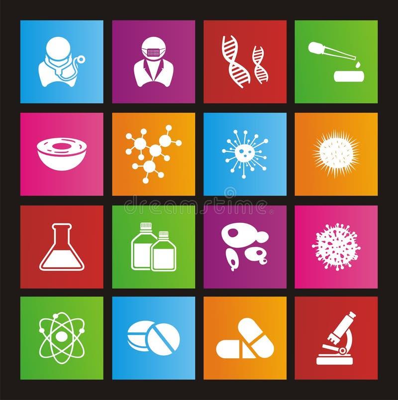 Grupos do ícone do estilo do metro da biotecnologia ilustração royalty free