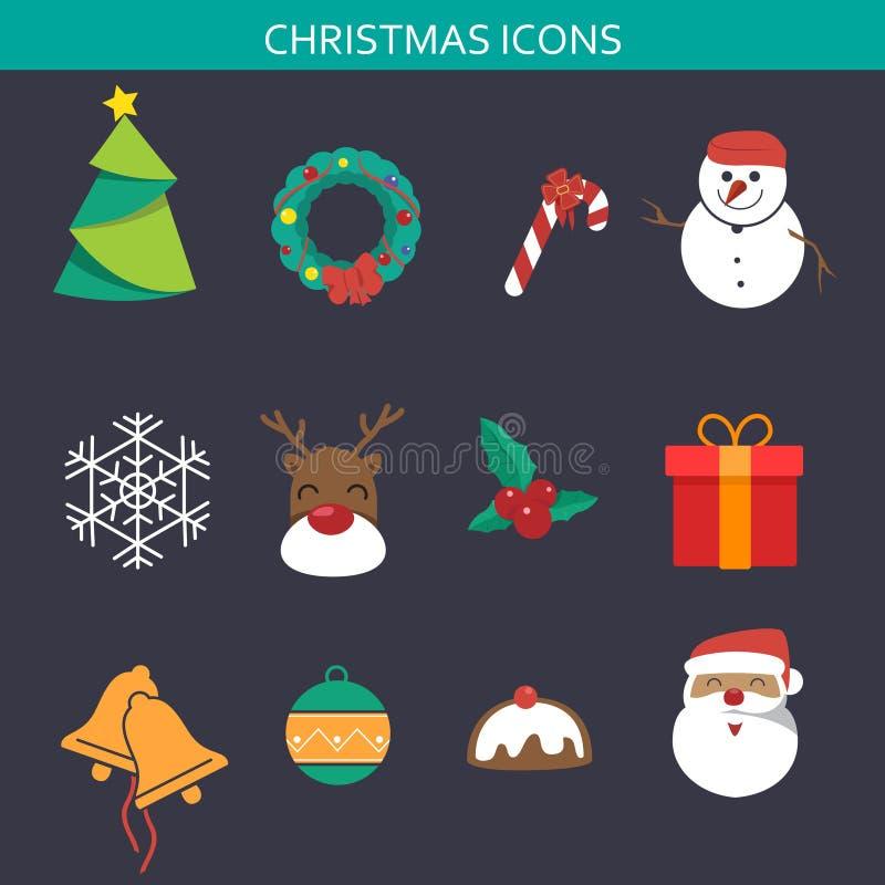 Grupos do ícone do Natal ilustração stock