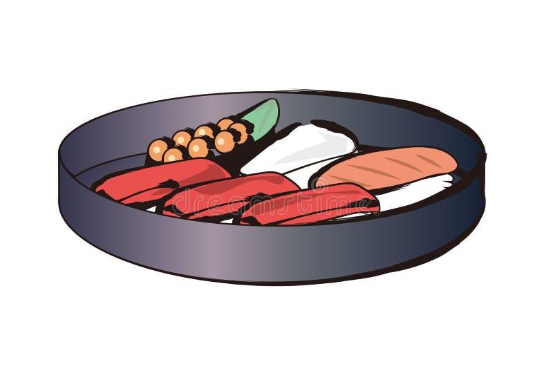 Grupos do prato do sushi vários - pintura da escova ilustração stock