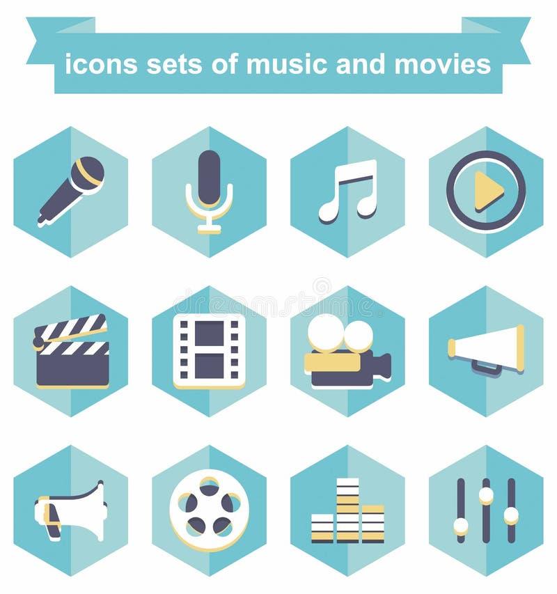 Grupos dos ícones de música e de filmes ilustração do vetor
