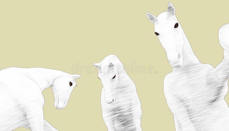 Grupos dos cavalos dos desenhos animados do desenho ilustração royalty free