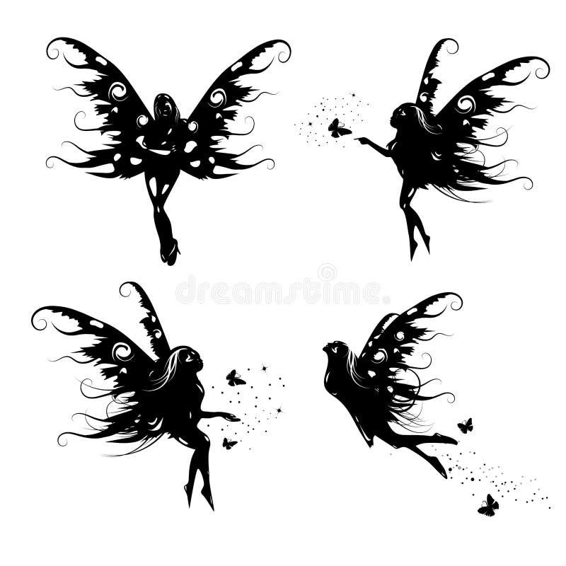 Grupos feericamente da coleção da silhueta isolados no fundo branco do espaço, ilustração do vetor da natureza do milagre da fant ilustração do vetor
