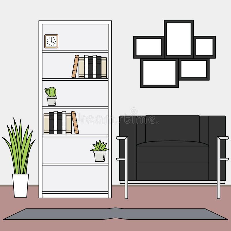 Grupos minimalistas simples de vetor da sala de visitas ilustração stock