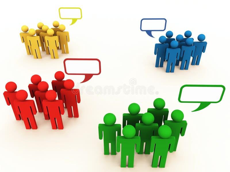 Grupos o personas de la gente en la conversación stock de ilustración