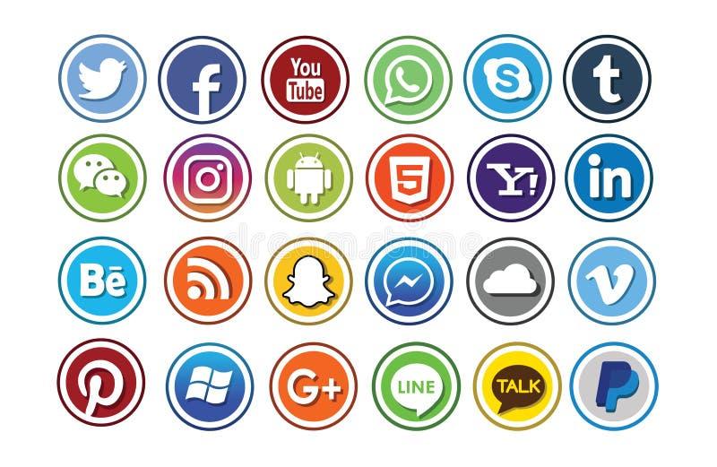 24 grupos sociais do ícone dos meios ilustração royalty free