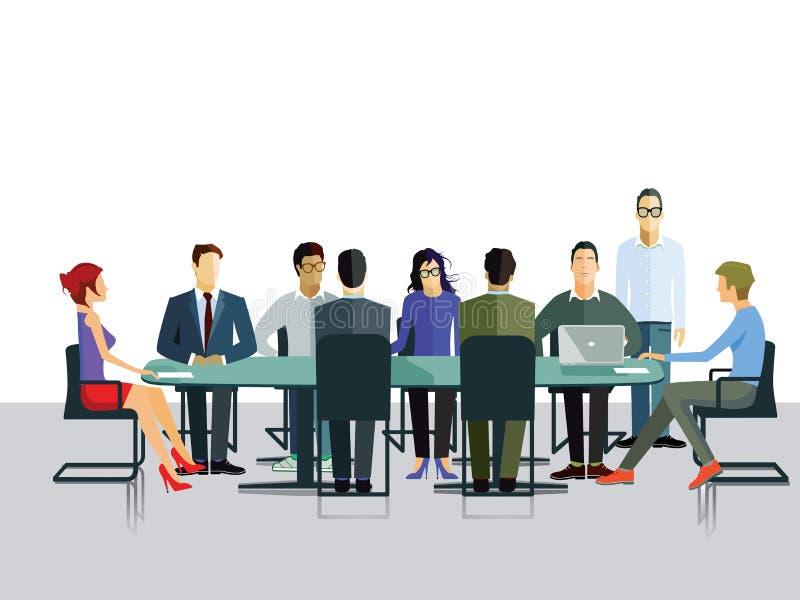 Grupowa dyskusja w biurze ilustracja wektor