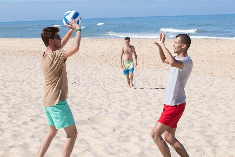 Grupowe młode radosne dziewczyny bawić się siatkówkę na plaży obraz royalty free