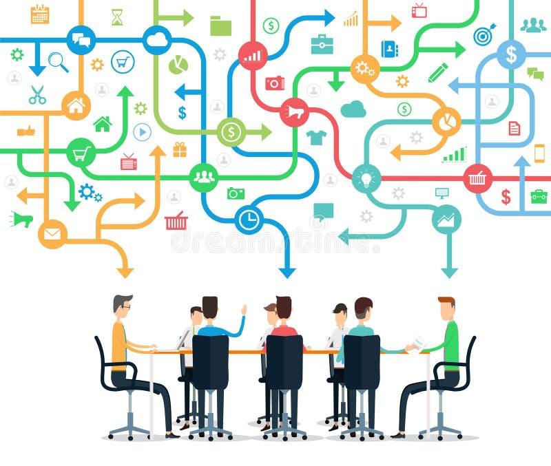 Grupowej biznes drużyny pracujący spotkanie ilustracji